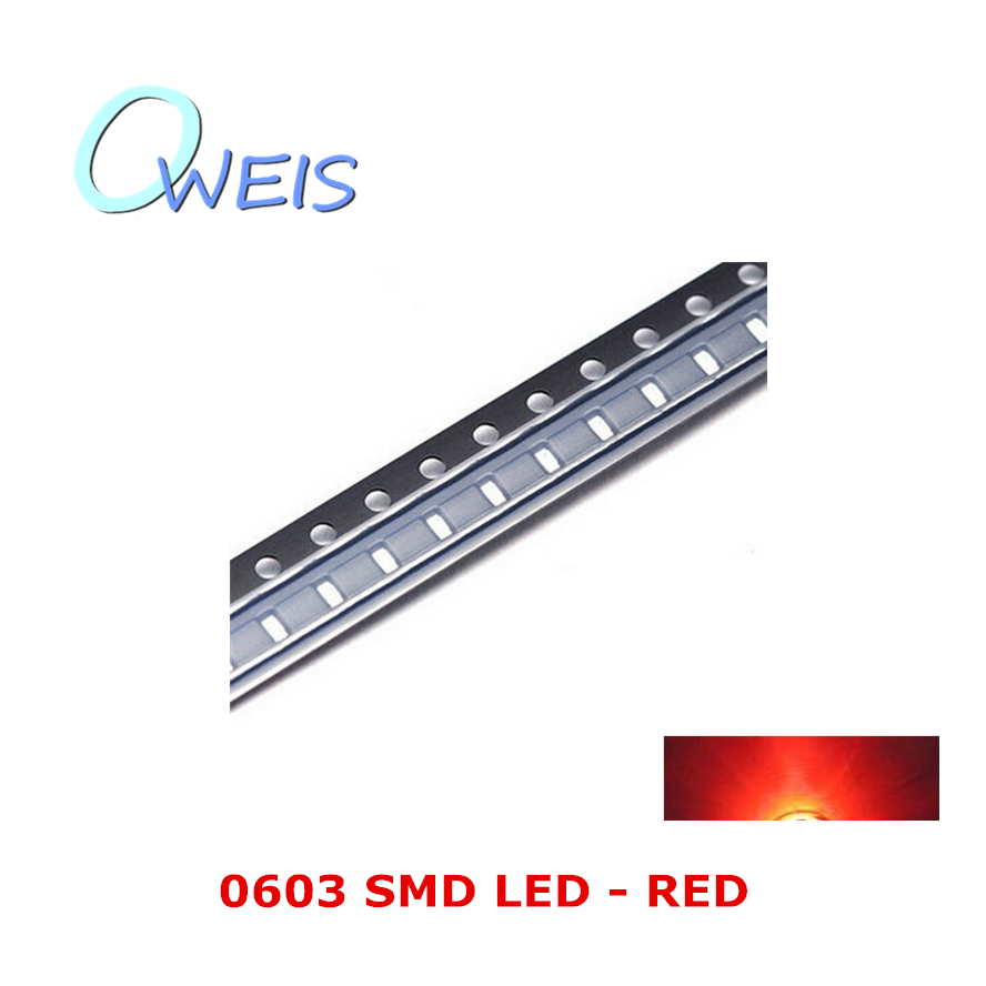 50PCS 0603 super bright RED SMD LED 1608 1.6*0.8mm 0603 RED sign light emitting diode light beads lamp FREE SHIPPING