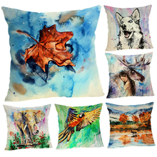 45*45cm Small animals Flower Cotton Linen Throw Pillow Case Home Sofa Soft Cushion Cover