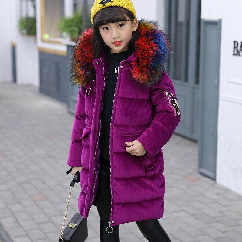 Зимняя куртка; пальто для девочек; цвет фиолетовый; милое пальто с капюшоном и цветным меховым воротником; размеры От 7 до 14 лет; детская одежда; плотная длинная верхняя одежда