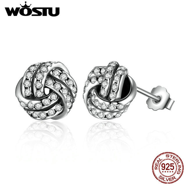 Wholesale 100% 925 Sterling Silver Sparkling Love Knots Stud Earrings For Women Compatible With Pan Jewelry Original Gift