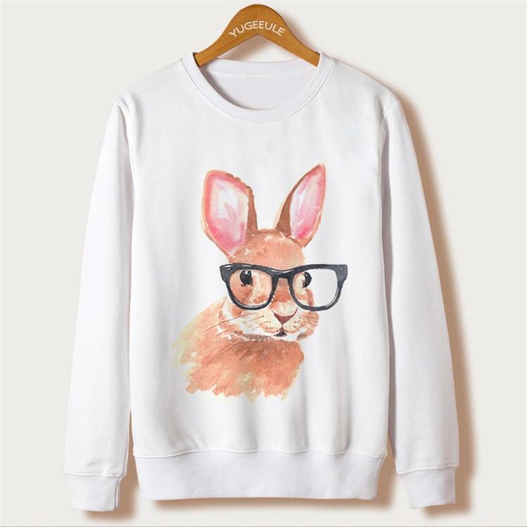 Animal Rabbit Print Sweatshirts Full Sleeve O-Neck White Kawaii Hoodies New Fashion Sweatshirts Autumn Harajuku Loose Pullovers 7