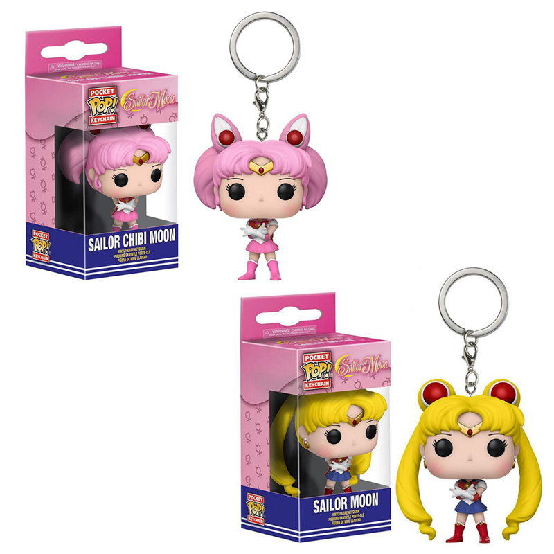 FUNKO POP New Arrival Pocket Pop Keychain Sailor Moon Official Action Figure Pop Collectible Model Toys For Kids Christmas Gifts