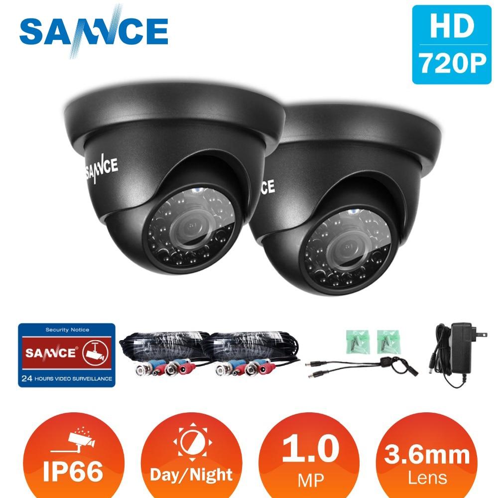 SANNCE 2 pièces 720 P AHD caméra 1200TVL CCTV dôme caméra intérieure extérieure IR Vision nocturne 1MP CCTV Surveillance caméra de sécurité