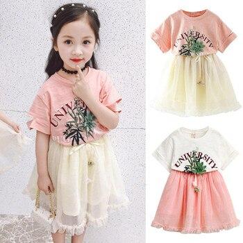 02956b90a Bebé Niñas Ropa de verano conjunto de 2 piezas de moda niños niñas tela  carta camiseta tul falda conjuntos L321