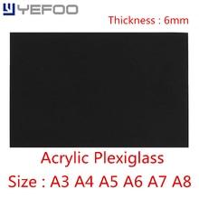 6mm Black Plastic Acrylic Plexiglass Perspex Sheet PMMA Plast A3 A4 A5 A6 A7 A8 Size 1mm 2mm 3mm 4mm 5mm 6mm 7mm 8mm 148mm*210mm