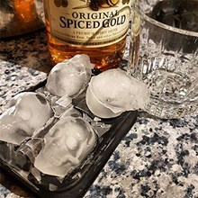 3D Skull Head Ice Cube Mold Halloween Skull Shaped Whisky Wine Ice Cube Tray 4 Cells Silicone Molds Maker For Party Bar Kitchen skeleton skull head silicone chocolate muffin cupcake candy ice cube mold halloween