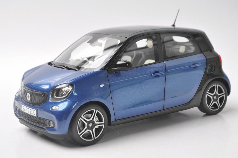 1:18 Diecast Model for Smart Forfour Blue/Black Alloy Toy Car Minicar