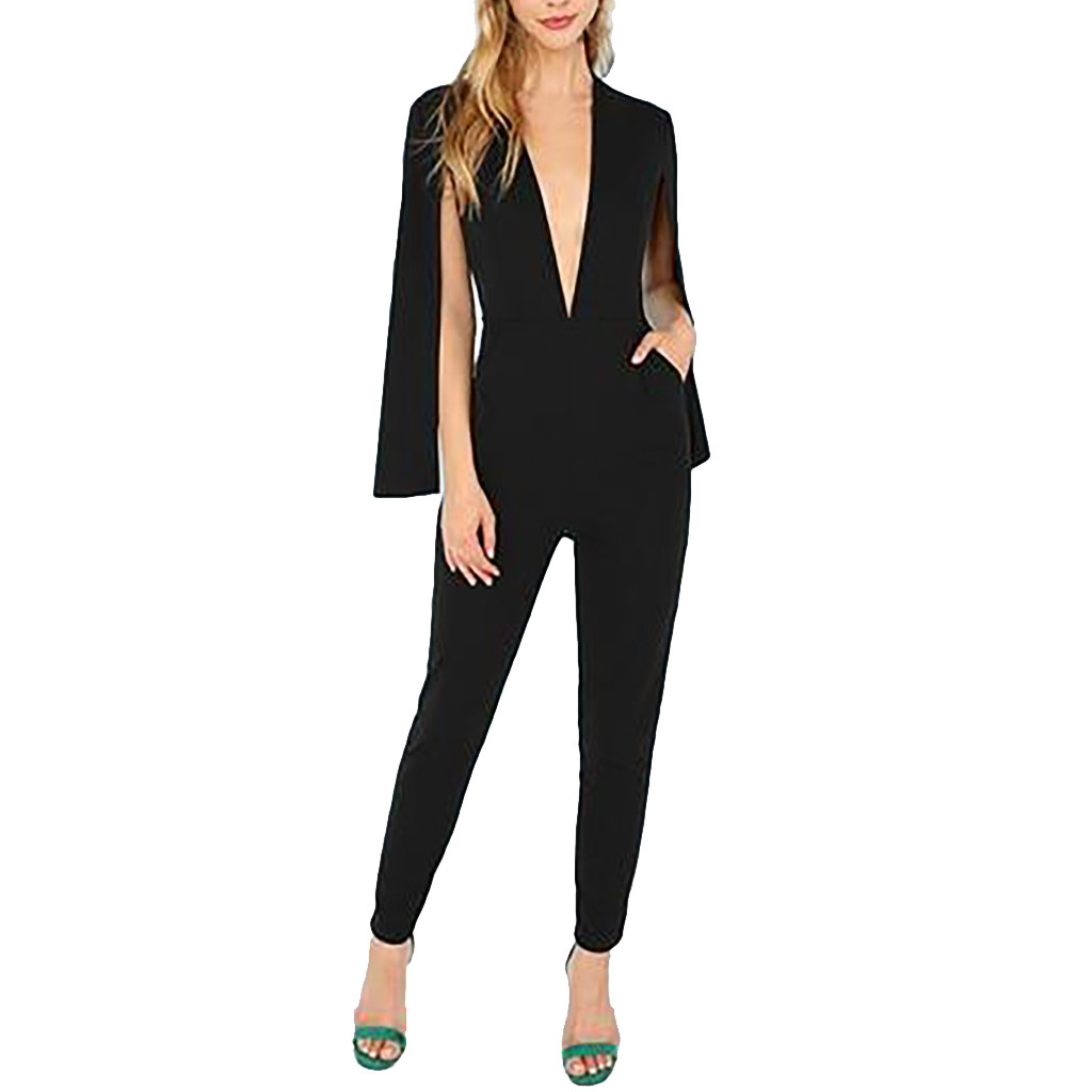 Split long sleeve   Jumpsuit   work business Women Sexy Fashion Deep V-Neck Ladies Highstreet Solid Long overalls Pencil pants 2019