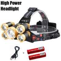 Мини перезаряжаемый светодиодный налобный фонарь 20000 люменов, 4 режима, масштабируемый светодиодный головной светильник для велосипеда, ул...