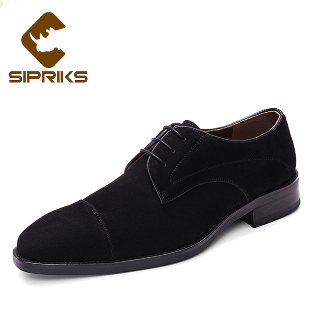 016d40031b43 SIPRIKS Dark Blue Tuxedo Shoes For Men Cow Suede Black Derby Shoes Two Toe  Italian Custom Goodyear Welted Shoes Mens Formal Shoe