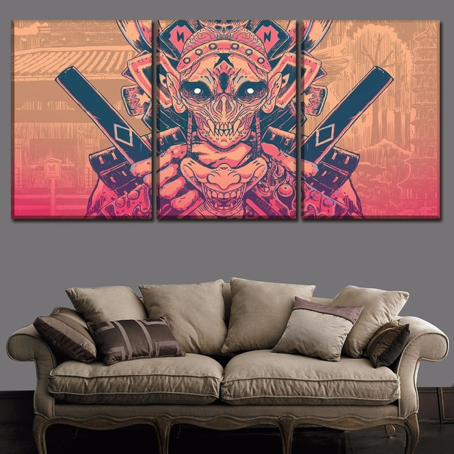 US $10.2 49% OFF Canvas Prints Poster For Modern Living Room Decor  Framework 3 Piece Mask Samurai Paintings Home Decor Wall Art Modular  Pictures -in ...