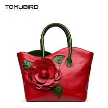 TOMUBIRD superior cowhide leather Designer Inspired Ladies Handmade Dimensional flower Tote Handmade Leather Satchel Handbags