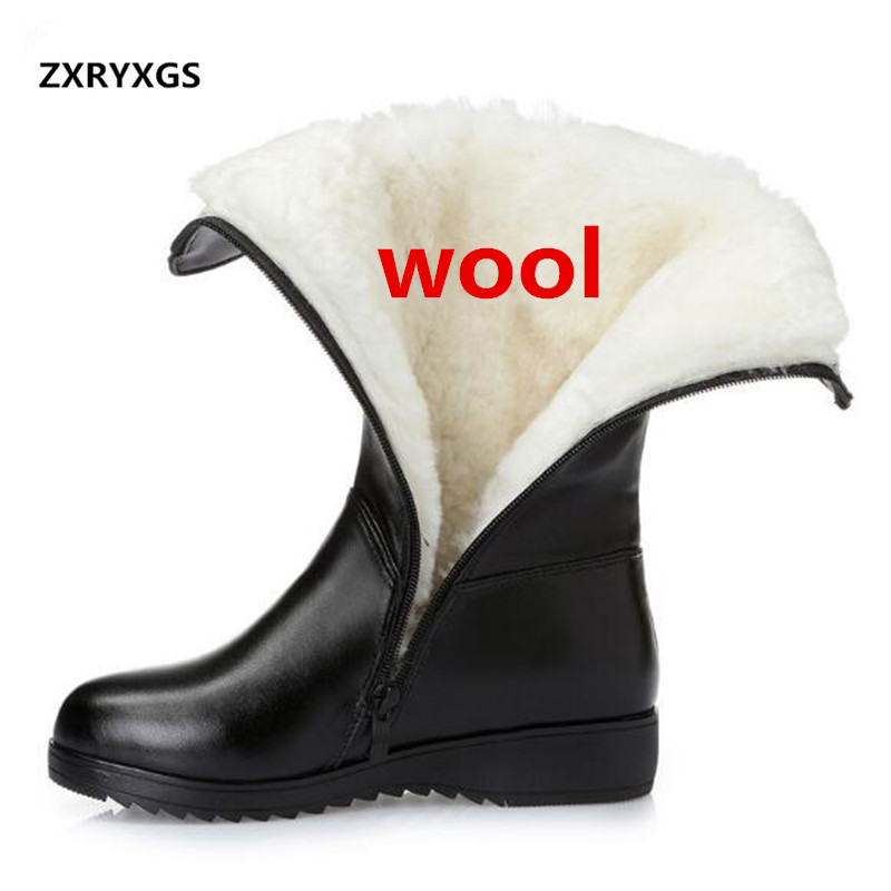 ZXRYXGS Brand Boots Plush Wool Genuine Leather Shoes Woman Warm Snow Boots 2020 Plus Size Winter Shoes Knight Boots Women Boots
