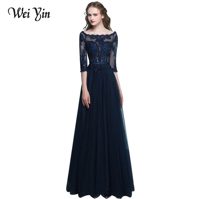 WeiYin 2018 Scoop Neck Three Quarter Lace Sleeves Formal Evening Dresses  Tulle Long Lace up Women Party Gowns Event Dress 7be8143901ad