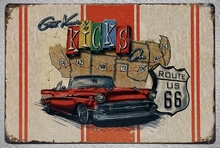 1 pc Get you kicks  route 66 USA car tin Plates Signs wall plaques man cave Decoration vintage Dropshipping Poster metal