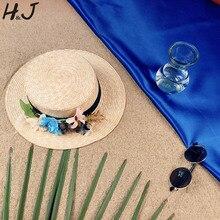 Paja de trigo sombrero mujeres sol señora Summer Flat Prok Pie ala ancha sombrero  canotier flor hecha a mano tamaño 56-58 cm 5a159366d564