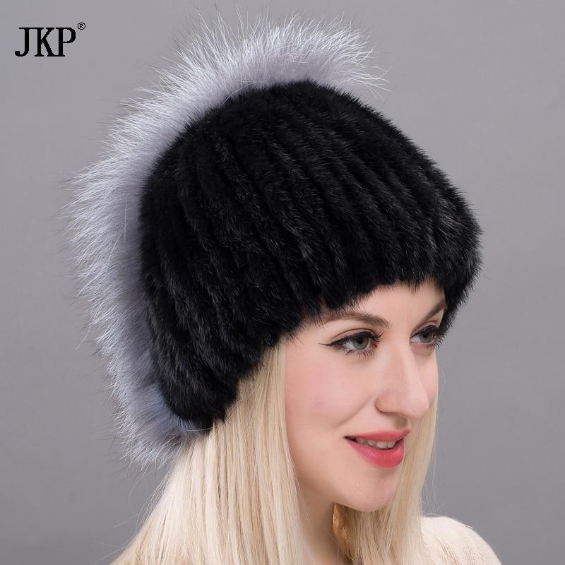 2017 Mink Fur Hats with Genuine Silver Fox Black Russia Women's Fur Fox  Caps Winter Warm Skirt Cap Skull Striped   DXJ17-32
