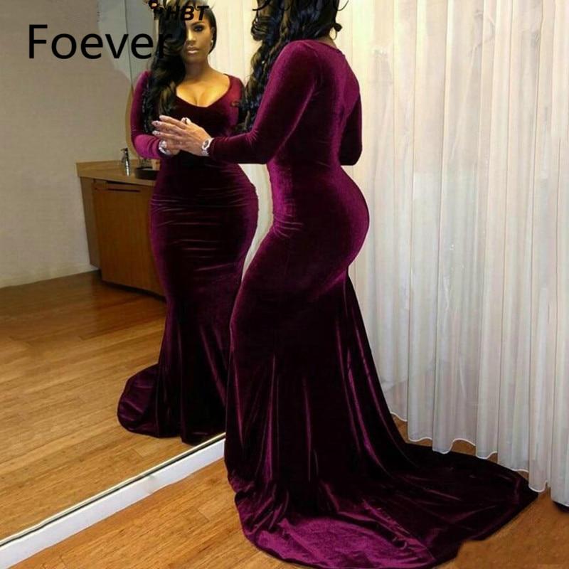 Long Sleeve Velvet Evening Dresses 2019 Mermaid V Neck African Plus Size Formal Party Dress Chapel Train