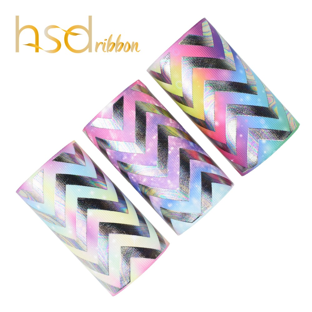 HSDRibbon 75mm 3inch custom Geometry Foil Printed on Solid Grosgrain Ribbon 50Yards Roll