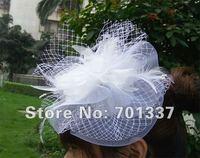 Groothandel wit tovenaar, Dansen, rassen, bruiloften, feestmuts kostuum bloem haar hoed H111