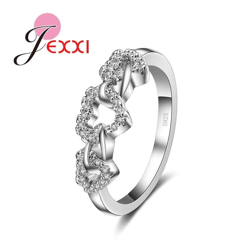 JEXXI Beautiful Cubic Zircon Finger Rings Girls Wedding White Heart Crystal Ladies Anillos Fashion CZ Bridal Jewelry