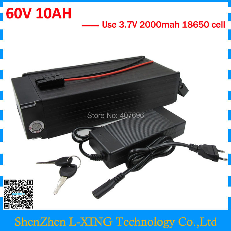 Free customs fee Lithium battery 60V 10AH 16S 5P 60V10AH electric bicycle battery with 15A BMS 67.2V 2A Charger free customs taxes and shipping 60 volt 3000w rechargeable 60v 25ah lithium ion battery pack with bms and charger