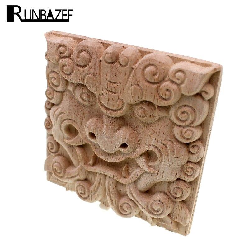 RUNBAZEF Vintage Unpainted Wood Carved Corner Onlay Applique Frame For Home Furniture Wall Cabinet Door Decor Crafts