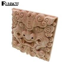 Marco de aplicación RUNBAZEF Vintage sin pintar Esquina de madera tallada para el hogar, mueble o pared, armario, puertas, manualidades decorativas
