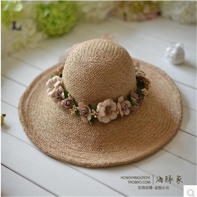 Straw Hats Women Sombrero verano Mujer sombreros de Sun Garland Beach sombreros para para Chapeu Feminino grandes aleros Sombrero