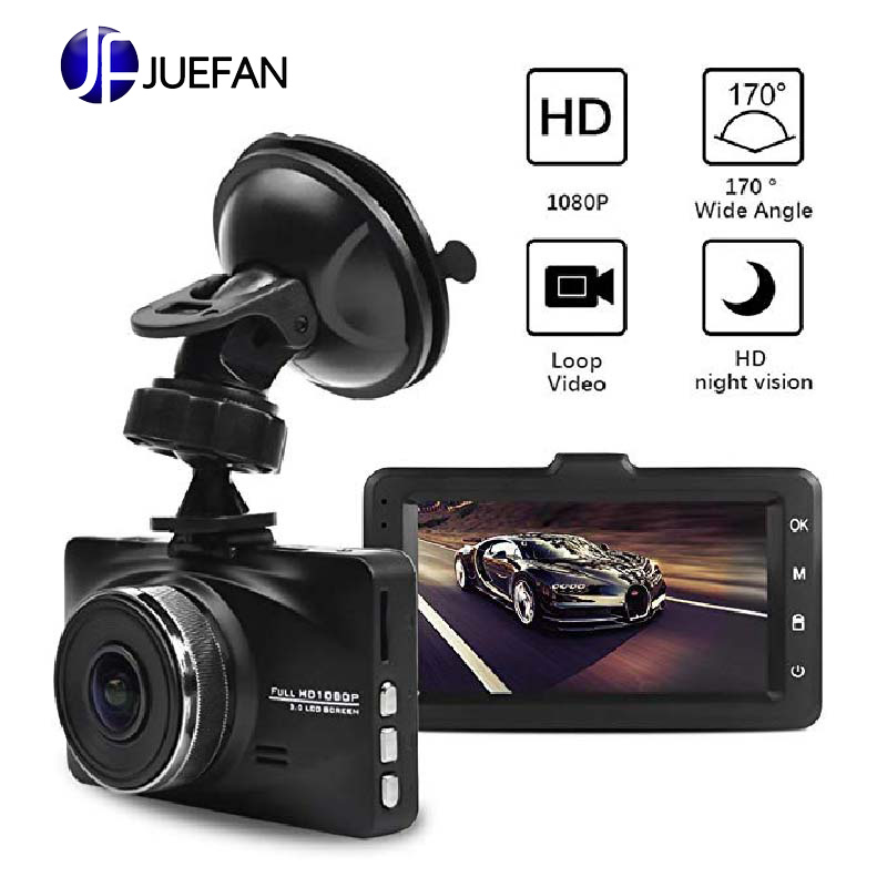 JUEFAN 1080P Car Dash Camera Recorder 170 Degree Super Wide Angle Cameras, 3.0 TFT Display,with Night Vision, WDR, Loop Record