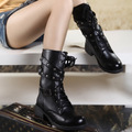Women Vintage Style Solid Lace-up Spike Buckle Chuncky Heel Motor Boots  BAOK-6f68