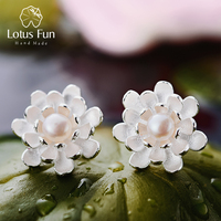 Lotus Fun Real 925 Sterling Silver Natural Pearl Creative Handmade Fine Jewelry Vintage Blooming Lotus Stud Earrings for Women