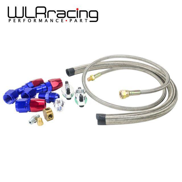 Prix pour WLRING MAGASIN-T3 T4 T3/T4 T70 T66 TO4E Turbo D'alimentation en Huile ligne Ligne de Retour D'huile de Vidange D'huile Ligne Kit bleu et rouge WLR-TOL21