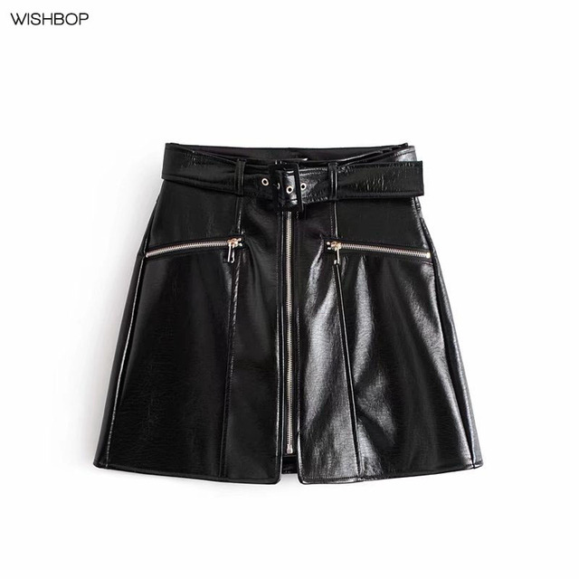 fcc0271708 WISHBOP NEW 2018 Woman Spring Fashion Black Faux Patent Leather Mini Skirt  Front Zip Pockets High Waist with Buckle Belt