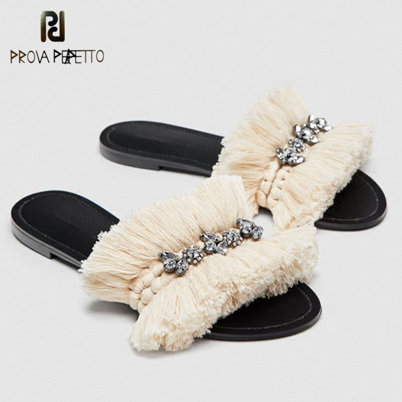 Prova Perfetto 2018 Summer Rhinestone Silppers Tassels Open Toe Shoes Woman String Bead Beach Shoes Women Loafers Flat SlippersProva Perfetto 2018 Summer Rhinestone Silppers Tassels Open Toe Shoes Woman String Bead Beach Shoes Women Loafers Flat Slippers