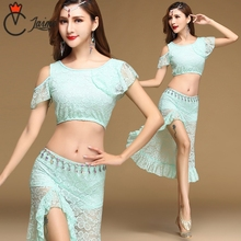 Women Belly Dancing Clothes Floral sexy Lace Top and High slit irregular Skirt(with underpant) Belly dance for Girls bardot floral print crop top with slit side skirt