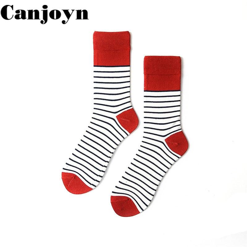 Canjoyn 2018 High quality Fashion Red White Stripe cotton Long socks men Women Personality funny happy socks