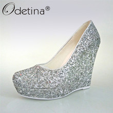 Odetina 2017 Nerw Fashion Silver Glitter Pumps Women Wedding Shoes Wedges Platform High Heels Ladies Party Shoes Plus Size 33-43(China)