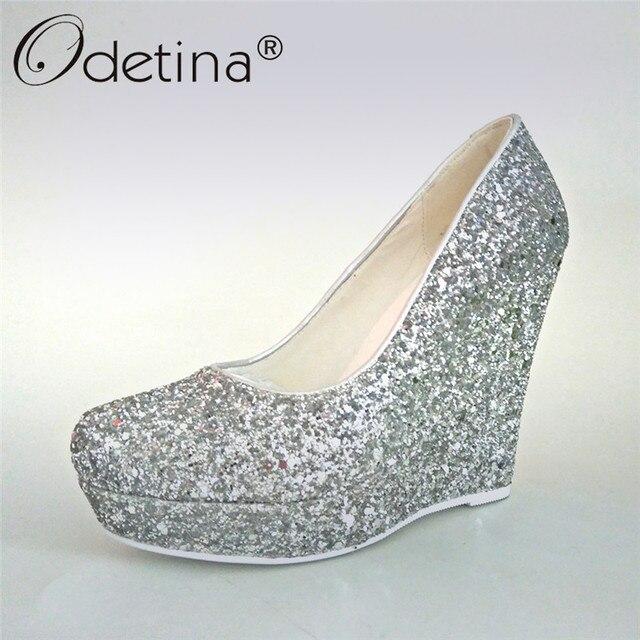 Odetina 2017 Nerw Fashion Silver Glitter Pumps Women Wedding Shoes Wedges Platform  High Heels Ladies Party Shoes Plus Size 33-43 ba213fb58694