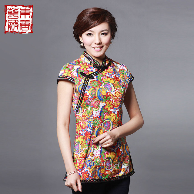 Magnificently 2013 summer quality stretch cotton chinese style of improved cheongsam top