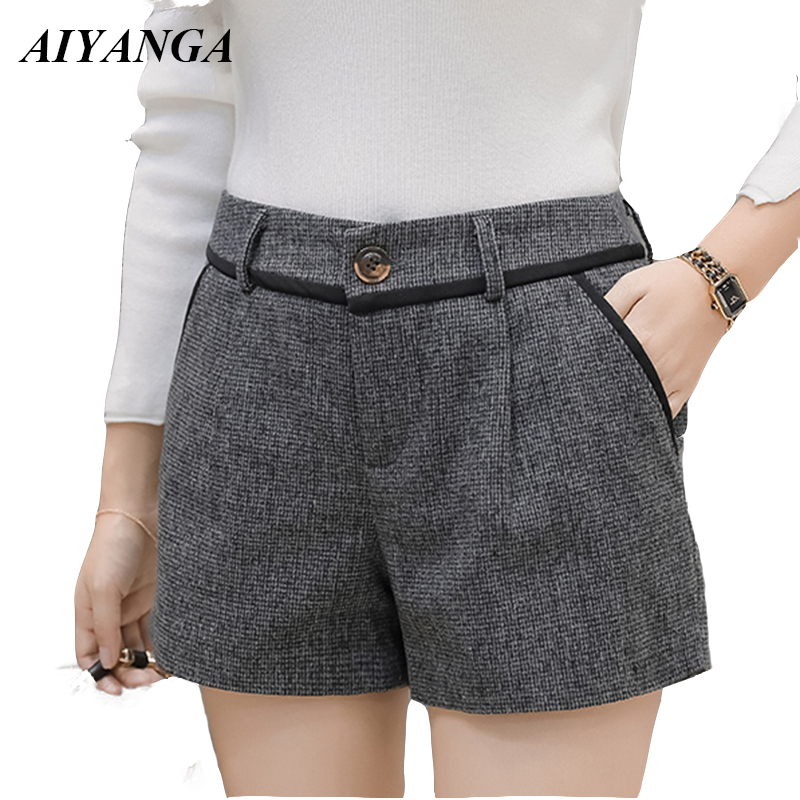 AIYANGA 2018 Autumn Winter Woolen   Shorts   For Women Fashion Wide Leg   Shorts   Slim Casual Office Lady   Shorts   Female S-2XL