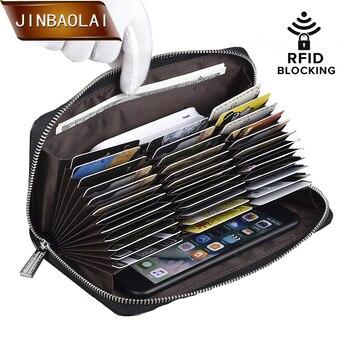 JINBAOLAI Credit Card Holder Purse 36 Card Holder RFID Blocking Passport Wallet Men Leather Zipper Wallet Travel Wallet Clutch men wallet leather credit card photo holder billfold purse business clutch dec07
