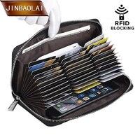 JINBAOLAI Credit Card Holder Purse 36 Card Holder RFID Blocking Passport Wallet Men Leather Zipper Wallet Travel Wallet Clutch