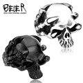 Beier nueva tienda de acero inoxidable 316l de alta calidad de los hombres gótico punk garra thingking anillos skull skeleton br8-049
