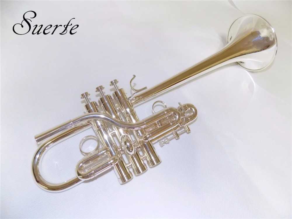 цена на Eb/D Brass Trumpet Silver plated Monel valves 120mm Bell Musical instruments professional