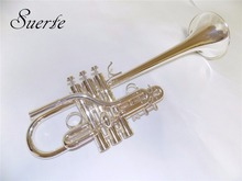 JinYin Eb/D Trumpet Silver plated Brass body Monel valves Shipped by EMS недорого