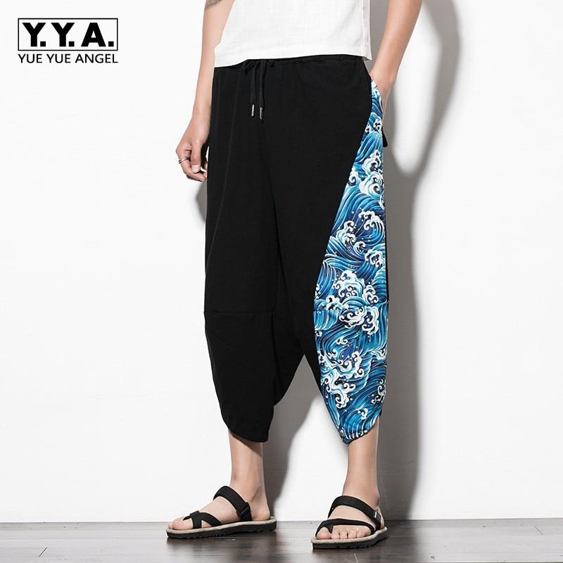 New Arrival Summer Mens Casual Short Hipster Linen Printing Man Short Pants Loose Fit Harem Bermuda Masculina Plus Size M-5XL