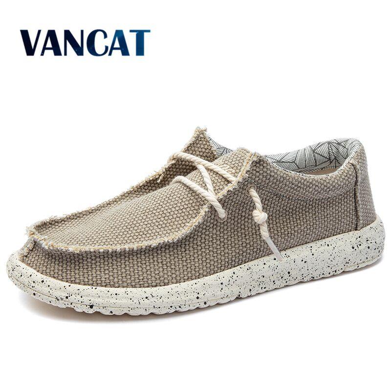 2019 New Summer Autumn Canvas Men's Shoes Breathable Men Vulcanized Shoes Slip Wear Men's Flat Shoes Soft Casual Shoes Size 48