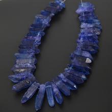 15.5 pulgadas Azul Lapislázuli Rough Cuarzo Puntos de Palo Artesanal Collar de strand, Tapa Perforaron Cristales Crudos Pico Cuentas Briolette Colgantes