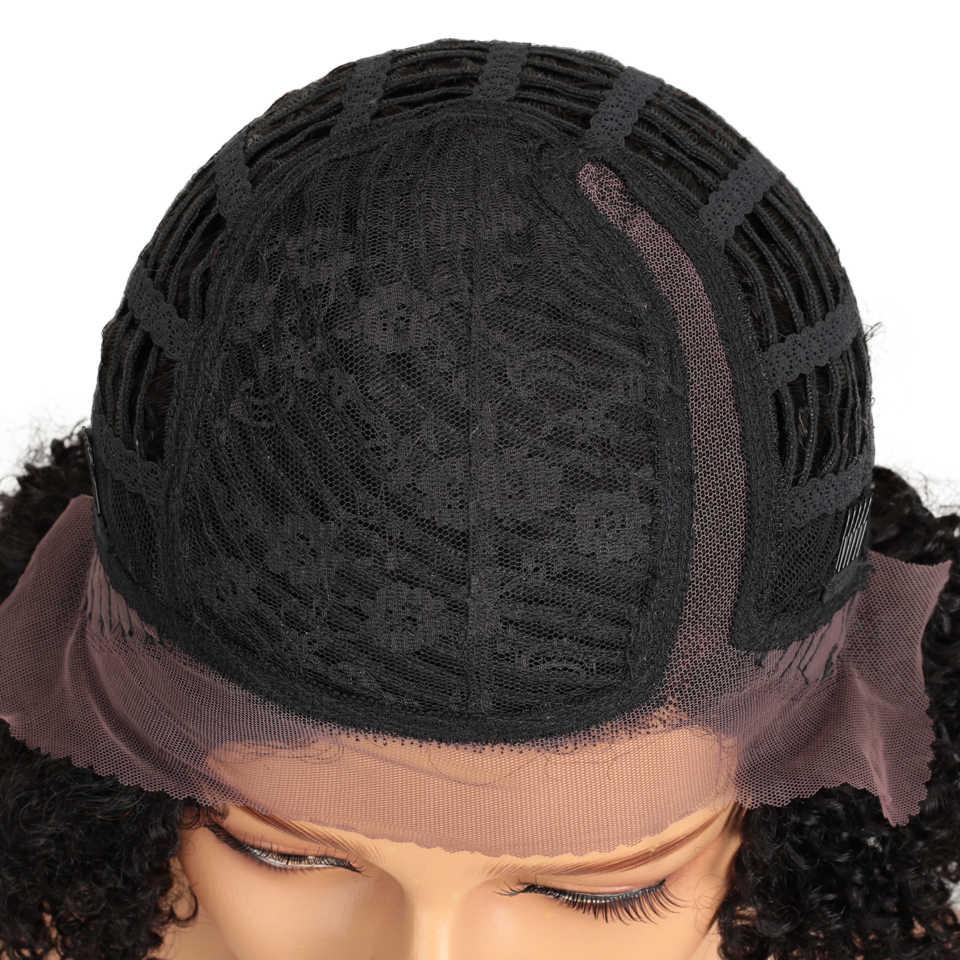 Elegante curto do laço perucas de cabelo humano brasileiro afro kinky encaracolado peruca de cabelo humano encaracolado bob dianteira do laço perucas frete grátis